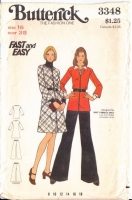 Butterick 3348 70s Jumper Dress, Top, Wide-Leg Pants Sewing Pattern 16 B38 Uncut