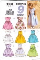 Butterick 3350 Girls Cute Fitted Flared, Sweetheart Neck Dress Pattern 6-8 Uncut
