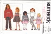 Butterick 3551 Child's Jacket, Blouse, Jumper Dress, Pants Sewing Pattern 5-6X Uncut