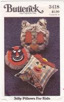 Butterick 3418 Silly Pillows Owl Lion Clown Pattern New