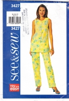 Butterick 3427 Sleeveless Tunic Top, Pull-on Pants Pattern 8-12