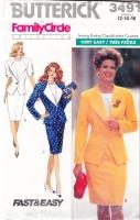 Butterick 3491 80s Career Suit Jacket, Skirt, Top Sewing Pattern 12-16 B34-38 Uncut
