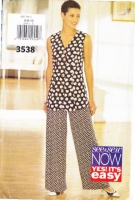 Butterick 3538 Top & Pants Sewing Pattern 6-10 B30-32 Uncut