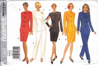 Butterick 3563 Asian Inspired Jacket Top, Asymetrical Top, Pencil Skirt, Pants Pattern 18-22 Retro 90s Uncut