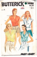 Butterick 3696 Misses' Button Front Top, Shirt Sewing Pattern 12 B34