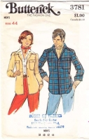 Butterick 3781 70s Men's Button Front Shirt Shirtjacket Sewing Pattern 44