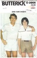 Butterick 3905 Men's One Yard Preppy Shorts Pattern S-L Uncut