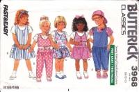 Butterick 3968 Child's Top, Jumper Dress, & Jumpsuit Sewing Pattern 4-6 Uncut
