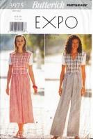 Butterick 3975 Gathered Waist Dress, Wide-Leg Jumpsuit Sewing Pattern 6-10 B30-32 Uncut