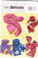 Butterick 3981 Misses' Hats, Scarves and Gloves Sewing Pattern Uncut