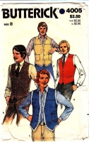Butterick 4005 70s Men's Vest V-Neck Sewing Pattern 38 40 42