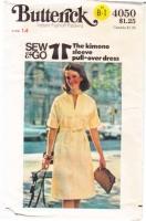 Butterick 4050 70s Kimono Sleeve Pull-over Dress Sewing Pattern 14 B36 Uncut
