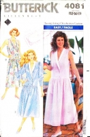 Butterick 4081 Drop Waist Dress Sewing Pattern 12 B34 Used