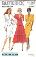 Butterick 4106 Double-Breasted Top & Flared Skirt Sewing Pattern 12-16 B34-38 Uncut