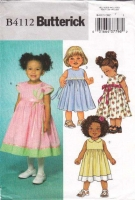 Butterick 4112 Toddler's Dress Sewing Pattern 1-4 Uncut