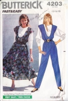 Butterick 4203 80s U-Neckline Dress or Jumpsuit & Top Sewing Pattern 12 B34