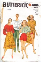 Butterick 4300 70s Vintage Boho Peasant Top, Skirt, Pants & Shorts Sewing Pattern 16 B38 Uncut