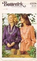 Butterick 4508 70s  Boho V-Neck Shirt, Blouse Sewing Pattern 16 B38 Uncut