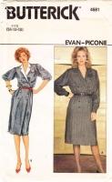 Butterick 4681 80s Evan-Picone Shirtwaist Dress Sewing Pattern 14-18 B36-40 Uncut