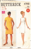 Butterick 4702 60s Mod Front Seam Detail Dress Sewing Pattern 16 B38