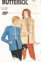 Butterick 4719 80s Loose-Fitting Unlined Jacket Sewing Pattern 8-12 B31-34 Uncut
