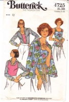 Butterick 4725 Misses' Shirt & Tank Top Sewing Pattern 12 B34 Uncut