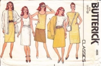 Butterick 4935 80s Shift Dress, Skirt, Tank Top, Jacket Sewing Pattern 8-12 B31-34 Uncut