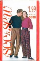 Butterick 5038 Unisex Tapered Pants Sewing Pattern XS-M W24-34 Uncut