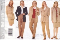 Butterick 5147 Career Suit, Blouse, Pants, Jacket, & Skirt Sewing Pattern 12-16 B34-38 Uncut