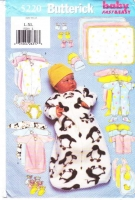 Butterick 5220 Infant Bunting, Jumpsuit, Shirt, Diaper Cover, Hat, Bib, Mittens, Booties, Blanket Sewing Pattern Uncut