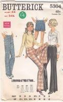 Butterick 5304 Cuffed Pants, Shorts Sewing Pattern W24 Uncut
