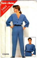 Butterick 5464 Vintage 80s Jumpsuit, Backwards V Bodice Sewing Pattern 14 B36