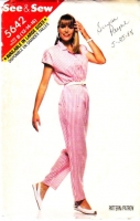 Butterick 5642 80s Blouson, Tapered Leg Jumpsuit Sewing Pattern 12-14 B34-36 Used