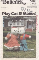 Butterick 5666 Stuffed Animal Toy Cat Mouse Clothes Sewing Pattern