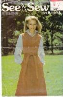 Butterick 5843 70s Jumper Dress Sewing Pattern 10 B32 Uncut
