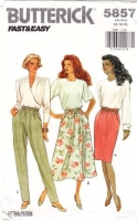 Butterick 5857 A-Line Skirt or Pants Sewing Pattern 12 W26.5