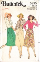 Butterick 5935 70s Front Button Skirt Sewing Pattern W26 Uncut