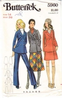 Butterick 5960 70s Skirt, Pants, Jacket Sewing Pattern 14 B36 Uncut