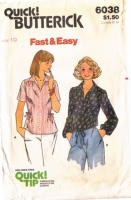 Butterick 6038 70s Easy, Blouse Sewing Pattern 10 B32