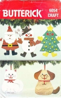 Butterick 6054 Christmas Xmas Stockings Santa, Dog, Cat, Sewing Pattern Uncut
