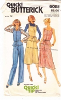 Butterick 6081 70s Square Neck Top, Pants, Skirt Sewing Pattern 12 B34 Uncut