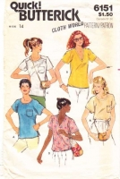 Butterick 6151 70s  V-Neck or Round Neck Shirt, Blouse Sewing Pattern 14 B36 Uncut
