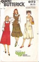 Butterick 6173 70s Ruffled Jumper Dress, Sundress  Sewing Pattern 10 B32