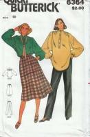 Butterick 6364 70s Poets Shirt, Skirt & Pants Sewing Pattern 10  B32 Uncut