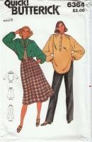 Butterick 6364 70s Poets Shirt, Skirt & Pants Sewing Pattern 12  B34 Uncut