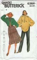 Butterick 6364 70s Poets Shirt, Skirt & Pants Sewing Pattern 8  B31 Uncut