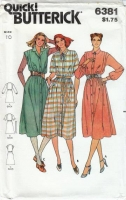 Butterick 6381 Classic Button-Front Shirt Dress Sewing Pattern 10 B32 Uncut