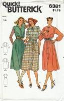 Butterick 6381 Classic Button-Front Shirt Dress Sewing Pattern 14 B36 Uncut