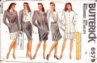 Butterick 6579 Pleated Skirt, Top, Boxy Jacket, Business Suit Sewing Pattern 12 B34 Uncut