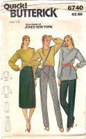 Butterick 6740 Tunic Top, Side-button Skirt, Tapered Pants Sewing Pattern 14 B36 Uncut